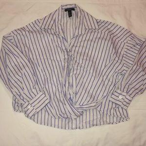 Striped twist front blouse